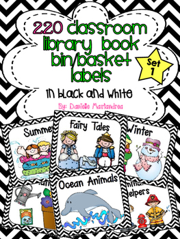220 Classroom Library Book Bin / Basket Labels {Black and White CHEVRON}