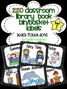 220 Classroom Library Book Bin / Basket Labels {Black/White Polka Dots}