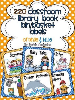 220 Classroom Library Book Bin / Basket Labels {Blue & Ora