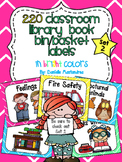 220 Classroom Library Book Bin / Basket Labels {Bright Colors} SET 2