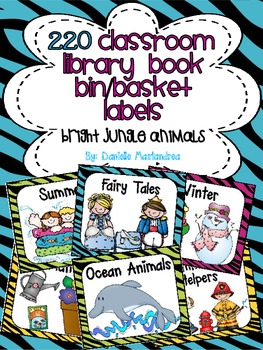 220 Classroom Library Book Bin / Basket Labels {Bright Jungle Animal Theme}
