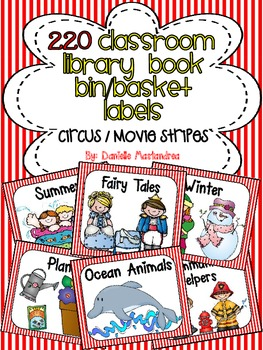 220 Classroom Library Book Bin / Basket Labels {Circus / M