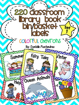 220 Classroom Library Book Bin / Basket Labels {Colorful Chevrons}