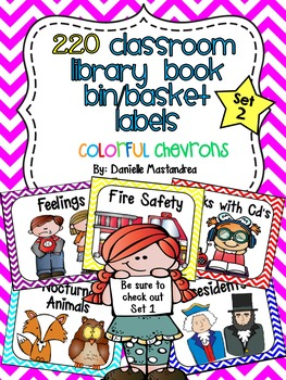 220 Classroom Library Book Bin / Basket Labels {Colorful Chevrons} SET 2