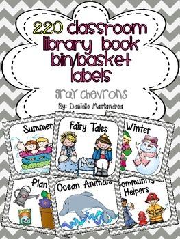 220 Classroom Library Book Bin / Basket Labels {Gray Chevrons Theme}