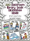 220 Classroom Library Book Bin / Basket Labels {Gray Chevrons Theme}