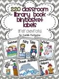 220 Classroom Library Book Bin / Basket Labels {Gray Chevr