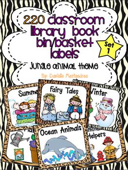 220 Classroom Library Book Bin / Basket Labels {Jungle Animal Theme}