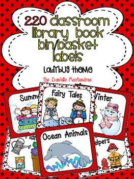 220 Classroom Library Book Bin / Basket Labels {Ladybug Theme}