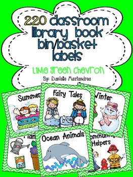 220 Classroom Library Book Bin / Basket Labels {Lime Green