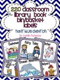 220 Classroom Library Book Bin / Basket Labels {Navy Blue Chevron}