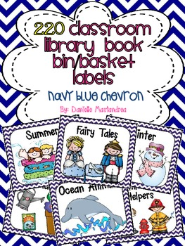 220 Classroom Library Book Bin / Basket Labels {Navy Blue Chevron}