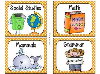 220 Classroom Library Book Bin / Basket Labels {Orange Polka Dots}