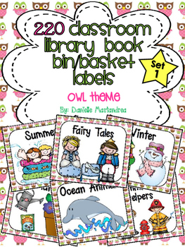 220 Classroom Library Book Bin / Basket Labels {Owl Theme}