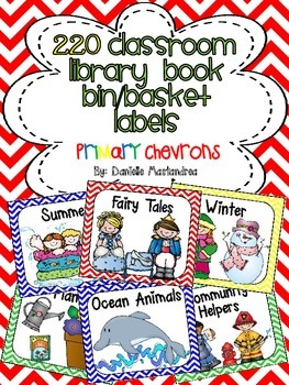220 Classroom Library Book Bin / Basket Labels {Primary Chevrons}