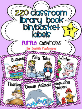 220 Classroom Library Book Bin / Basket Labels {Purple Chevrons}