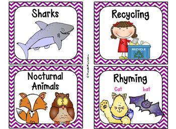 220 Classroom Library Book Bin / Basket Labels {Purple Chevrons} SET 2