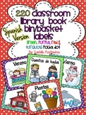 220 Classroom Library Book Bin / Basket Labels SPANISH {red, green turq, purple}