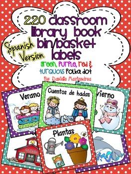 220 Classroom Library Book Bin / Basket Labels SPANISH {red, green turq, purple}