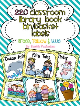 220 Classroom Library Book Bin / Basket Labels {Yellow Green Blue Stripes}