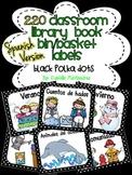 220 Classroom Library Book Bin / Basket Labels in SPANISH {Blk & White Polka}