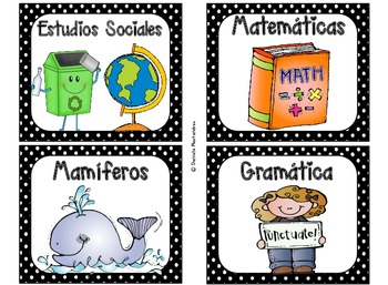 220 Classroom Library Book Bin / Basket Labels in SPANISH {Blk & White Polka}