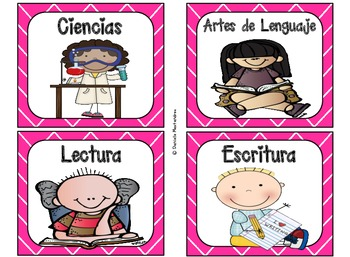 220 Classroom Library Book Bin / Basket Labels in SPANISH {Bright Pink}