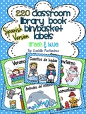 220 Classroom Library Book Bin / Basket Labels in SPANISH {Green & Light Blue}