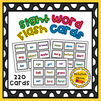220 Dolch Sight Word Cards