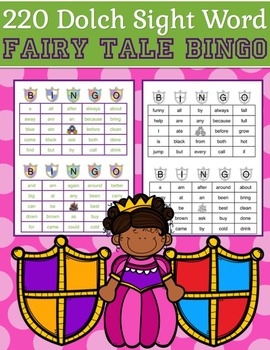 220 Dolch Sight Word Fairy Tale BINGO (Daycare Support by Priscilla Beth)