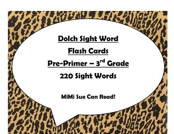 220 Dolch Sight Word Flash Cards Pre-Primer - 3rd (Cheetah/Leopard Black)