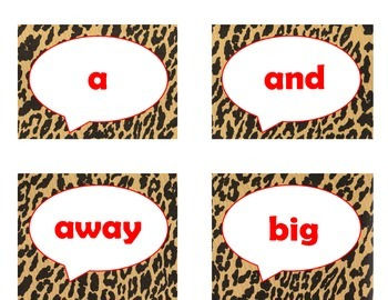 220 Dolch Sight Word Flash Cards Pre-Primer - 3rd (Cheetah/Leopard Red Letters)