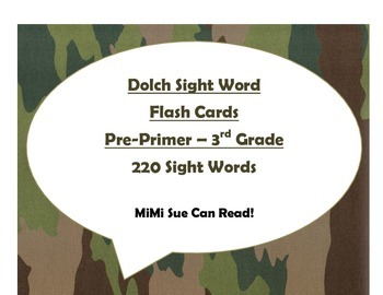 220 Dolch Sight Word Flash Cards Pre-Primer - 3rd Grade (Camo)