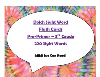 220 Dolch Sight Word Flash Cards Pre-Primer - 3rd (Tie Dye Purple Lettering)