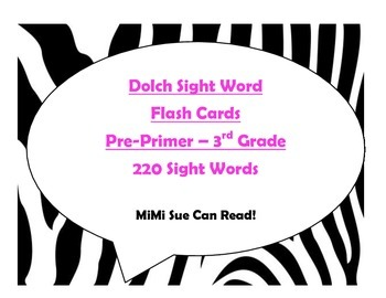 220 Dolch Sight Word Flash Cards Pre-Primer - 3rd (Zebra Hot Pink Lettering)