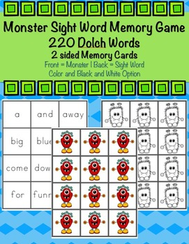220 Dolch Sight Word Monster Memory Game Bundle