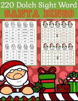 220 Dolch Sight Word Santa BINGO (Daycare Support by Priscilla Beth)