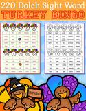 220 Dolch Sight Word Turkey BINGO (Daycare Support by Pris