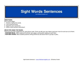 220 Dolch Sight Words writing and reading unit activity page set