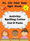 Dolch Words Activity - Cut & Paste Letters and Form - Large