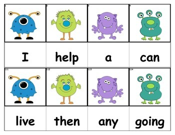 Dolch Words Flashcards - Monsters (10 Little)