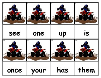 Dolch Words Flashcards  - Four Wheeler