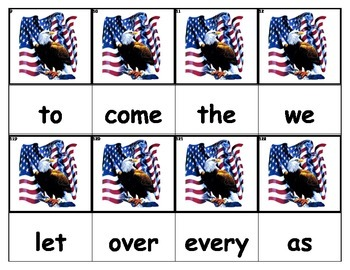 Dolch Words Flashcards - American Flag & Eagle