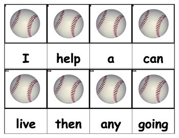 Dolch Words Flashcards - Baseballs
