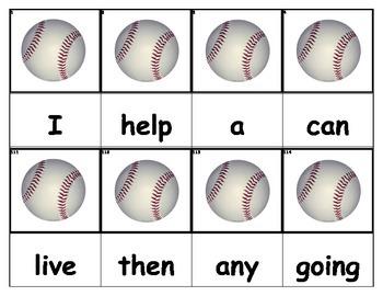 Dolch Words Flashcards - Baseballs