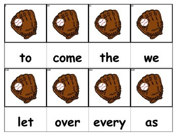 Dolch Words Flashcards - Baseball Glove