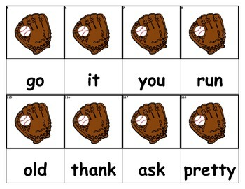 Dolch Words Flashcards - Baseball Glove
