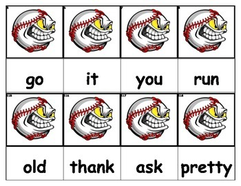 Dolch Words Flashcards - Baseball Monster