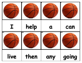 Dolch Words Flashcards - Basketballs