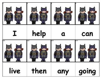 Dolch Words Flashcards - Batman & Batgirl